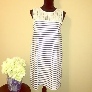 J Crew eyelet yoke striped dress NWT 💙